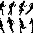Vector de stock : Girl running silhouettes
