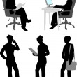 Stock Vector: Silhouettes of businesswoman