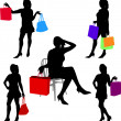 Shopping girls — Stockvektor #2069193