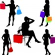 Shopping girls — Stock Vector #2069193