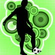 Soccer player on the abstract background — Imagens vectoriais em stock