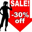 Royalty-Free Stock Vector Image: Woman showing discount sign
