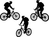 Girl riding bicycle silhouettes — Cтоковый вектор