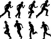 Garota correndo silhuetas — Vetor de Stock