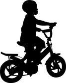 Silueta chico montar bicicleta — Vector de stock