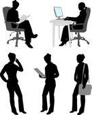 Silhouetten van zakenvrouw — Stockvector