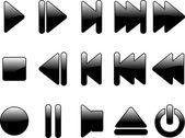 Glanzende multimedia symbolen — Stockvector