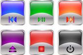 Botones multimedia brillantes — Vector de stock