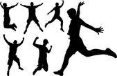 Saltando felice — Vettoriale Stock