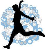 Uomo salta sullo sfondo astratto — Vettoriale Stock