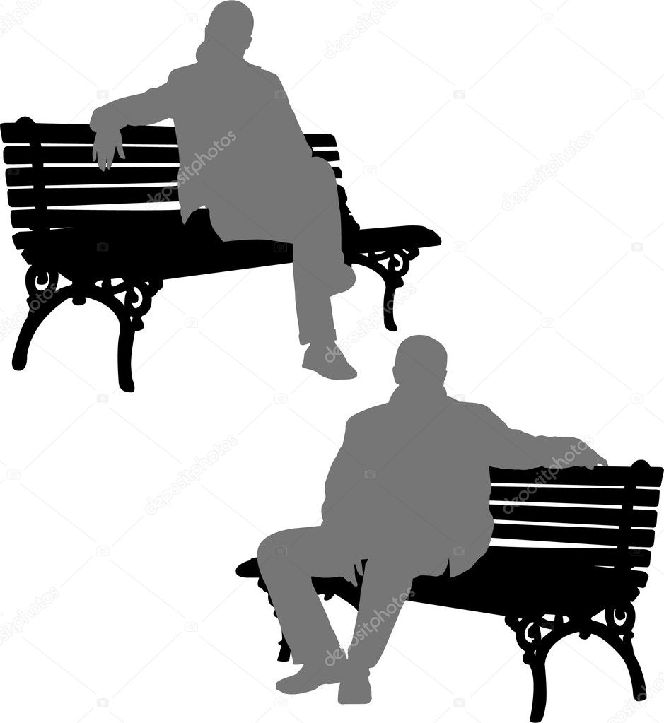 Silhouettes of man and woman sitting on the park bench - vector — ベクター素材ストック #2068662