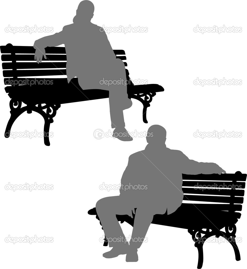 Silhouettes of man and woman sitting on the park bench - vector   #2068662