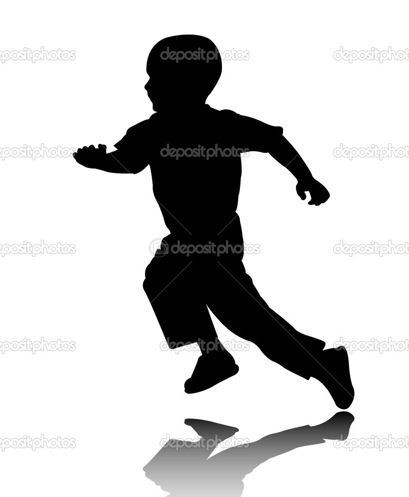 Boy running silhouette — Stock Vector © bokica #2069154