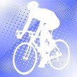 Bicyclist on the abstract background — Stock Vector