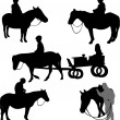 Stock Vector: Children riding horses