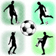 Stock Vector: Soccer players silhouettes