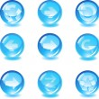 Set blue glass vector button with arrows — Stock Vector