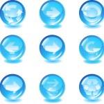 Set blue glass vector button with arrows — Stock Vector