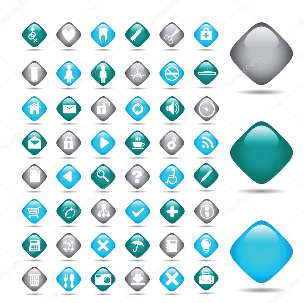 Vector beautiful icon set. Medicine — Stock Vector #2576369