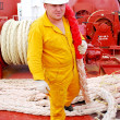 Stock Photo: Sailor on deck