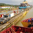 Ship passes through a sluice - Stock Photo
