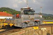 Panamanian train in Panamanian channel — Stock Photo