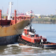Chemical tanker entering the port — Stock Photo