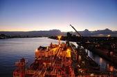 Loading of chemical tanker — Stock Photo