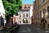 Street of old riga latvia — Stock Photo