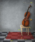 Violin on chair — Stock Photo
