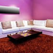 Purple living room — Stock Photo