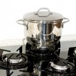 Pot at stove — Foto Stock