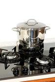 Pot at stove — Stock Photo