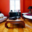 Red living room — Stock Photo