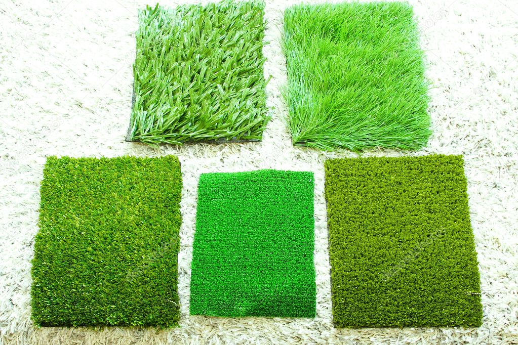 Five different samples of green grass style — Stock Photo #2112501