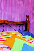 Colorful bedding — Stock Photo