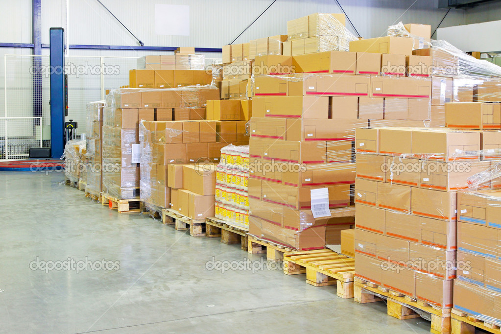 Big pile of box package in warehouse — Stock Photo #2175699