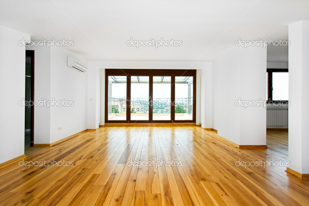 New empty living room with four glass doors  Stock Photo #2177364