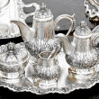 Silver tea set — Stock Photo
