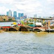 Pontoons at Thames - Stock Photo