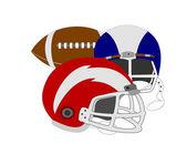 Football and Helmets — Stock Photo