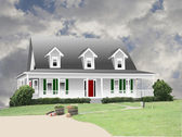Farmhouse drawing with natural background — Stock Photo