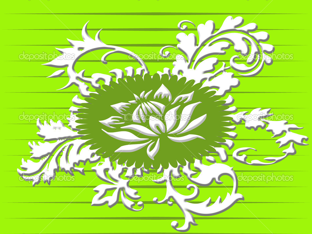 Retro floral ornament in green  Stock Photo #2051336
