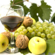 Stock Photo: Wine and fruits