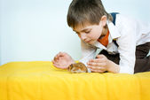 The boy and the pet — Stock Photo