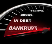 Plunging into Bankruptcy - Financial Speedometer — Stock Photo