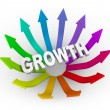 Stock Photo: Growth Word and Colorful Arrows