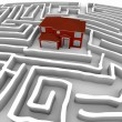 Red Home in Maze - Find Path to Ownership - Stock Photo