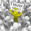 Smiley Face Person Holding Thank You Sign - Stock Photo