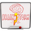 Brainstorm - Dry Erase Board with Red Marker - Stock Photo